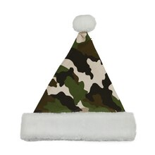 Camouflage Print Santa Hat with Faux Fur